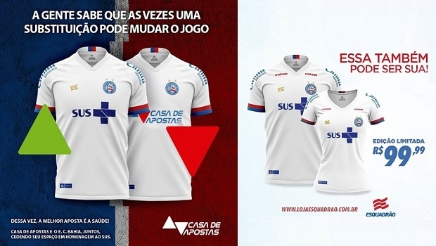 Casa de Apostas gives up its space on Bahia's jersey to the Unified Health System (SUS)