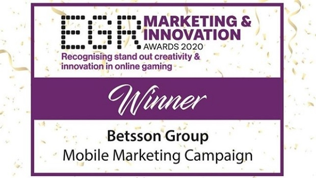 "Betsson Group wins ""Mobile Marketing Campaign"" award"