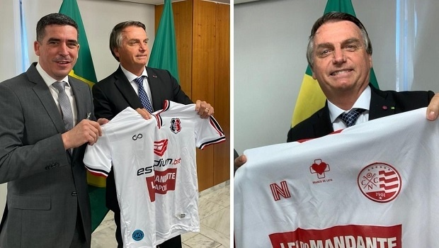 Estadium proudly shows Bolsonaro wearing Náutico e Santa Cruz jerseys